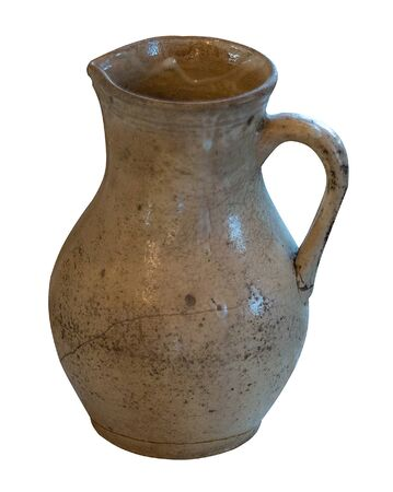 clay gray jug isolated on a white background. vintage empty jug front view. vintage capacity Banco de Imagens