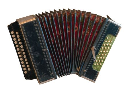 Vintage accordion isolated on a white background. Accordion front  side view. musical instrument