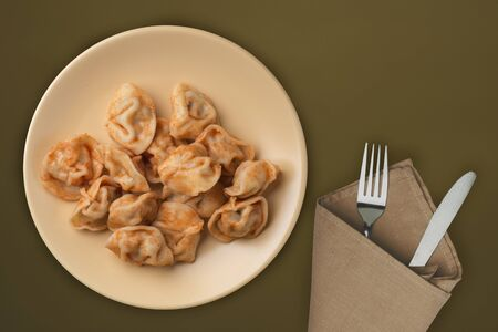 dumplings on a beige plate against a brown green  background. Dumplings meat in tomato sauce top view. Asian cuisine