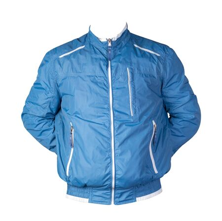 sports blue jacket isolated on a white background. Windbreaker jacket front view. sporty style