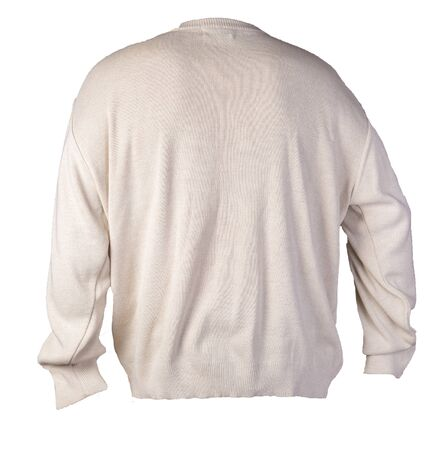 knitted beige sweater with a zipper isolated on a white background. mens sweater under the neck back view. Casual style