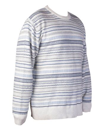 knitted white blue sweater with a zipper isolated on a white background. mens sweater under the neck front side view. Casual style