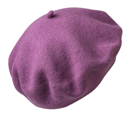 purple beret isolated on white background. hat female beret back side view .