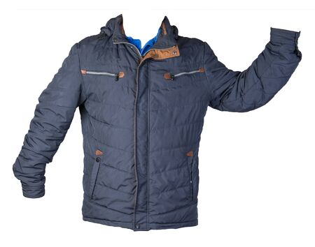 Mens dark blue  jacket in a hood isolated on a white background. Windbreaker jacket front  view. Casual style