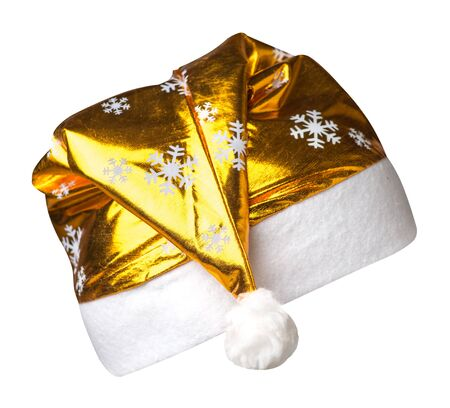 Santa Claus gold   hat isolated on white background .Santa Claus  hat with snowflakes that is for wearing on Christmas Day.beautiful hatn Santa side view