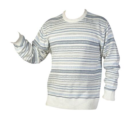knitted  white blue sweater with a zipper isolated on a white background. mens sweater under the neck front  side view. Casual style Stockfoto