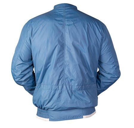 sports blue  jacket isolated on a white background. Windbreaker jacket back view. sporty style Stock Photo