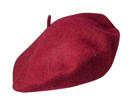 red beret isolated on white background. hat female beret front side view.