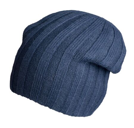 knitted dark blue  hat isolated on a white background. stylish hat front side  view. fashion accessory for casual style