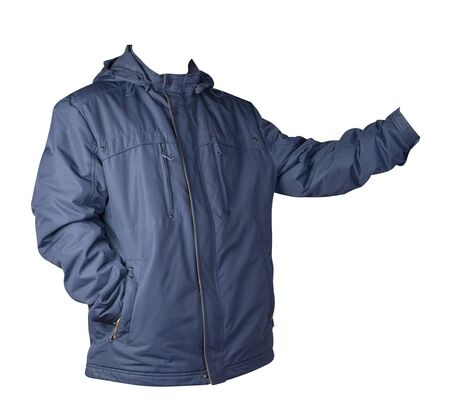 Mens dark blue  jacket in a hood isolated on a white background. Windbreaker jacket front side view. Casual style