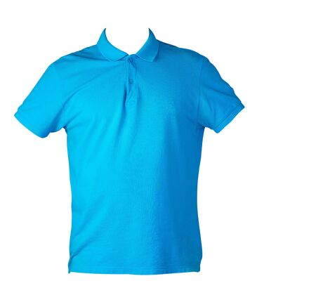 short sleeve blue  polo t-shirt isolated on white background .Polo cotton shirt front view. Casual style