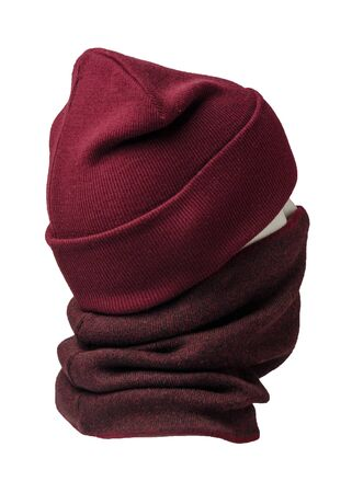 dark red hat and scarf isolated on white background.knitted set of hats and scarf.winter accessories back side view