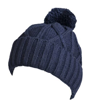 knitted blue  hat isolated on white background.hat with pompon  front side view. Stock Photo