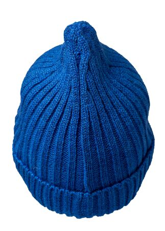 Womens  blue hat back  view . knitted hat isolated on white background.