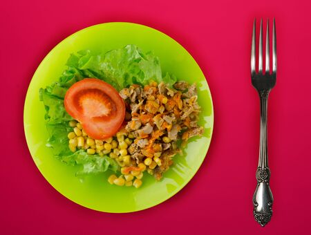 salad of cheese, lettuce, corn, pepper on a red background. Vegetarian salad on a green plate with fork . Vegetarian salad top view