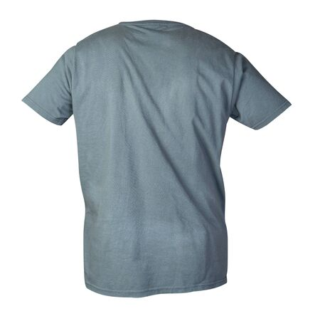 gray short sleeve t-shirt isolated on a white background. cotton shirt back view. Casual style