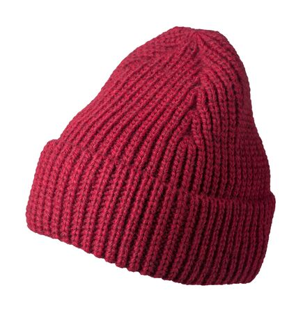 Womens red hat front side view . knitted hat isolated on white background.