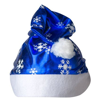 Santa Claus blue  hat isolated on white background .Santa Claus  hat with snowflakes that is for wearing on Christmas Day.beautiful hatn Santa front view Stock Photo