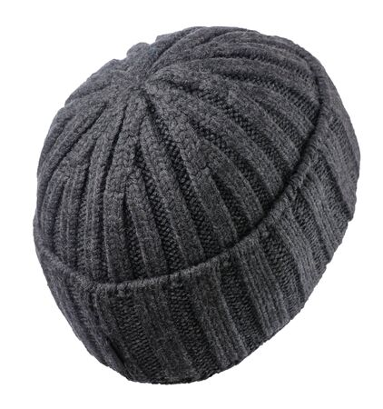 knitted gray  hat isolated on a white background. stylish hat back side  view. fashion accessory for casual style