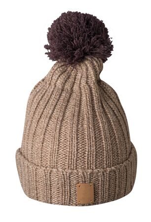 knitted  beige hat isolated on white background.hat with brown  pompon  front  view.