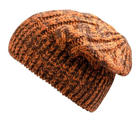 Womens orange hat  side view . knitted hat isolated on white background. Stock Photo