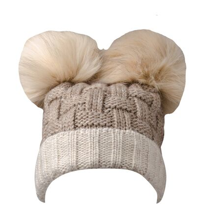 knitted brown beige hat isolated on white background.hat with pompon  front  view.