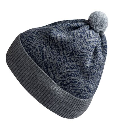 knitted gray blue  hat isolated on white background.hat with pompon   side view. Stock Photo