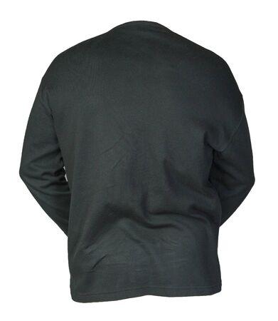 black sweatshirt isolated on a white background. sweatshirt back view. sporty style