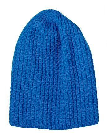 Womens  blue hat  top front view . knitted hat isolated on white background. Stock Photo