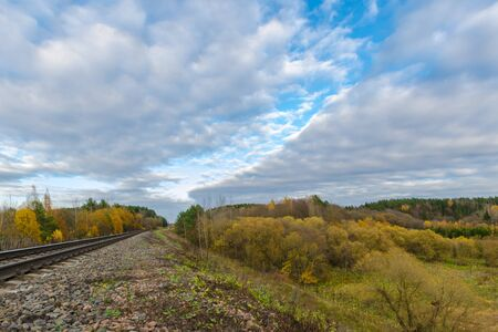 railway rails stretching into the distance. the railway is surrounded by autumn nature