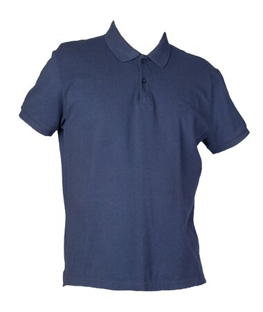 short sleeve dark blue polo t-shirt isolated on white background .Polo cotton shirt front side  view. Casual style