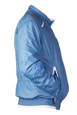 sports blue  jacket isolated on a white background. Windbreaker jacket side view. sporty style