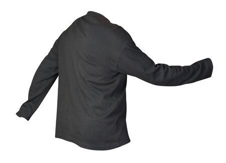 black sweatshirt isolated on a white background. sweatshirt back side view. sporty style