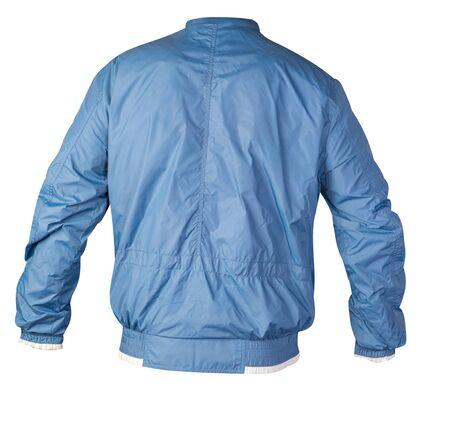Chaqueta deportiva azul aislado en un fondo blanco. Vista posterior de la chaqueta cortavientos. estilo deportivo