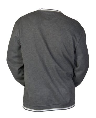 gray sweatshirt isolated on a white background. sweatshirt back view. sporty style