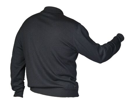 knitted black sweater with a zipper isolated on a white background. mens sweater under the neck back sdie view. Casual style