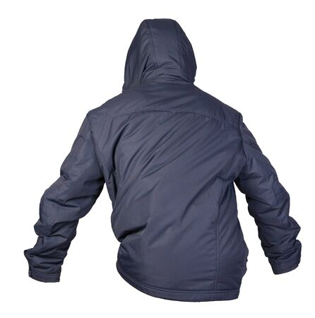 Men's dark blue  jacket in a hood isolated on a white background. Windbreaker jacket back  side view. Casual style