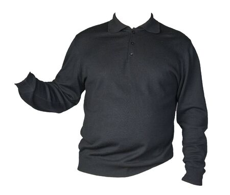 knitted black sweater with a zipper isolated on a white background. mens sweater under the neck front view. Casual style