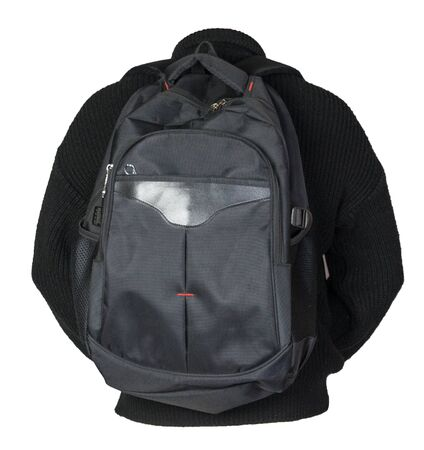 black backpack dressed in a knitted black  sweater isolated on a white background. backpack and male sweater view from the back