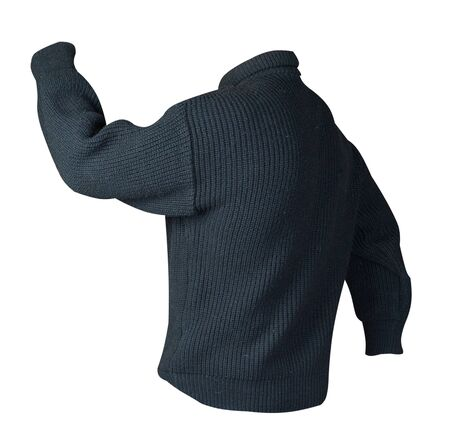 knitted black sweater with a zipper isolated on a white background. mens sweater under the neck back side view. Casual style