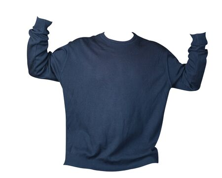 knitted blue  sweater with a zipper isolated on a white background. mens sweater under the neck front view. Casual style