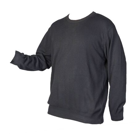 black sweatshirt isolated on a white background. sweatshirt front view. sporty style