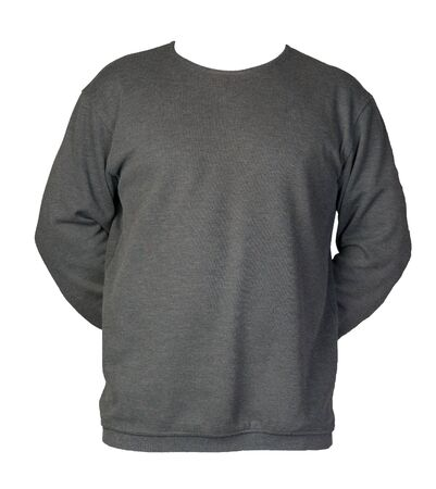 gray sweatshirt isolated on a white background. sweatshirt front view. sporty style