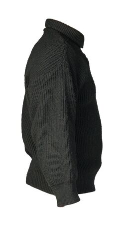 knitted black sweater with a zipper isolated on a white background. mens sweater under the neck side view. Casual style