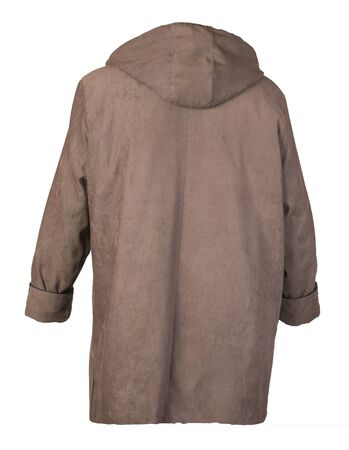 female brownn coat with a hood Isolated on a white background. autumn women's coat not wet from the rain