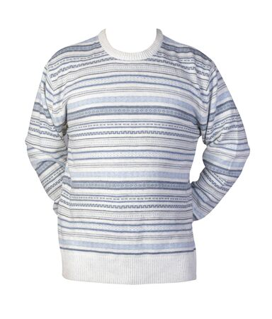 knitted white blue gray sweater with a zipper isolated on a white background. men's sweater under the neck front view. Casual style