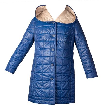 female blue  coat with a hood Isolated on a white background. autumn women's coat not wet from the rain