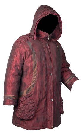 female dark red coat with a hood Isolated on a white background. autumn women's coat not wet from the rain Banque d'images
