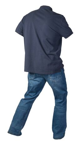 men'sdark blue t-shirt and blue jeans isolated on white background.casual clothing