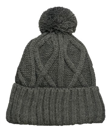 knitted gray hat isolated on white background.hat with pompon top front view.